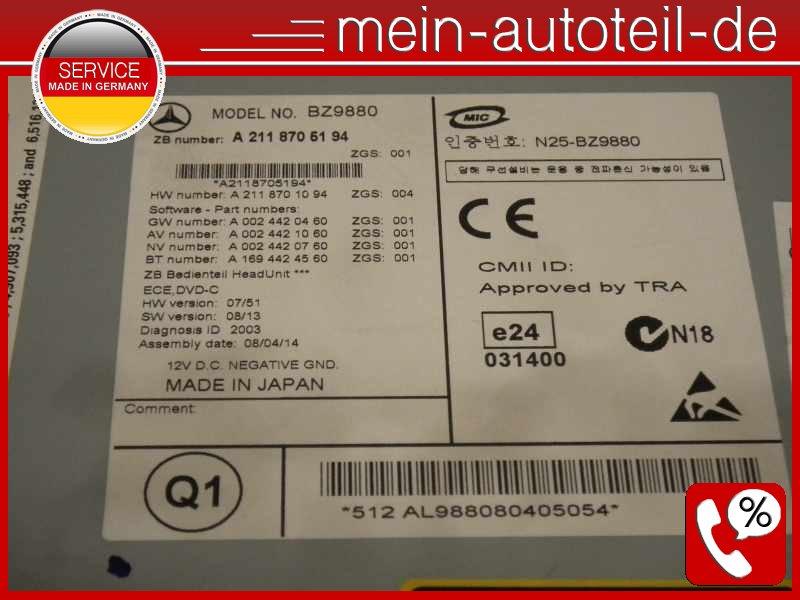 Mercedes S211 Navi NTG 2 5 APS Comand SD-Karte Festplatte DVD-Wechsler  211870519
